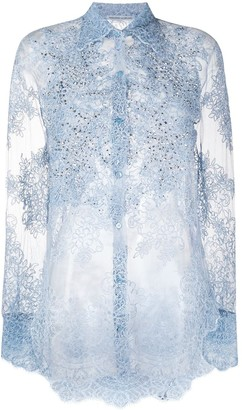 Ermanno Scervino Lace-Pattern Sheer Shirt