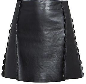 Chloé Women's Scalloped Leather Mini Skirt