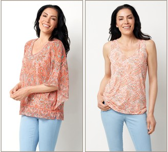 Belle By Kim Gravel Printed Woven Blouse and Knit Tank Set