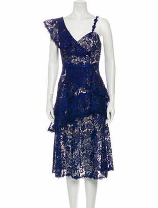 Alice + Olivia Lace Pattern Midi Length Dress Blue