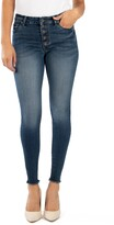 KUT from the Kloth Donna High Waist Frayed Hem Ankle Skinny Jeans