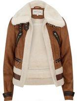 River Island Womens Brown faux suede shearling aviator coat