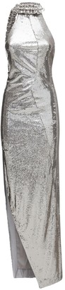 Off-White Asymmetric Sequined Long Dress