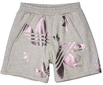 adidas Large Logo Shorts (Medium Grey Heather/True Pink) Women's Shorts