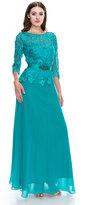 Unique Vintage Teal Three-Quarter Sleeve Lace Bodice Long Dress