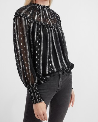 Express Sheer Metallic Ruffle Neck Top
