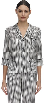 Laura Urbinati Printed Silk Satin Pajama Shirt