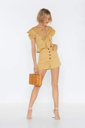 Nasty Gal Womens All Stripes Of Rad Button-Down Shorts - Yellow - S, Yellow
