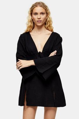 Topshop Womens Black Tie Front Kaftan Dress - Black
