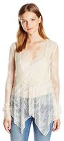 Haute Hippie Women's Lace Blouse with Chiffon Pleates