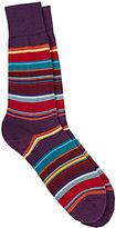 """Paul Smith Men's """"Val"""" Striped Mid-Calf Socks-PURPLE, NO COLOR"""