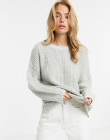 New Look long line sweater in gray