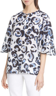Lafayette 148 New York Barker Floral Print Silk Top