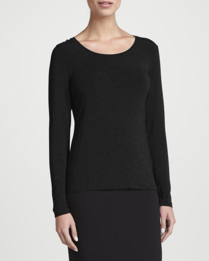 Eileen Fisher Cozy Long-Sleeve Lean Jersey Top
