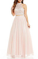 B. Darlin Mock Neck Illusion-Yoke Open-Back Beaded Top Two-Piece Ball Gown