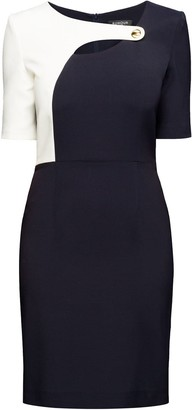 Rumour London Francesca Midnight Blue Dress With Keyhole Tab Neckline And Cream Silk Detail