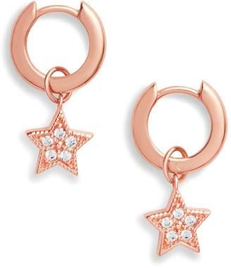 Olivia Burton 18k Rose Gold Plated Silver Celestial Star Charm Huggie Hoop Earrings