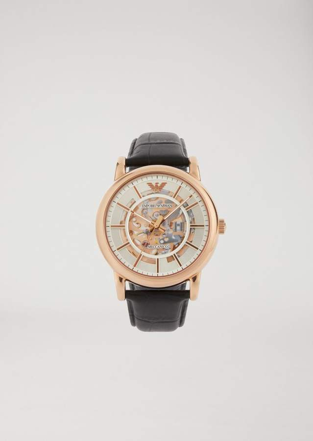 Emporio Armani Watch In Stainless Steel And Crocodile Print Leather 60007