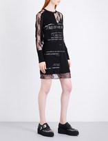 McQ Slogan-print mesh and cotton dress