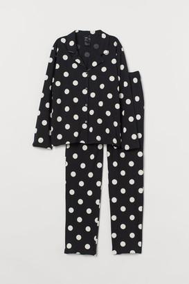 H&M Pajama Shirt and Pants - Black