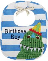 "Mud Pie Dino ""Birthday Boy"" Bib in Blue/White/Green"