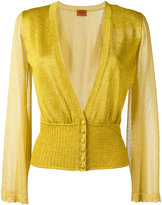 Missoni sheer sleeve buttoned cardigan - women - Polyester/Cupro/Viscose - 40