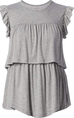 Everly Grey Women's Maternity Valentina Maternity & Nursing Ruffle Trim Sleeveless Top