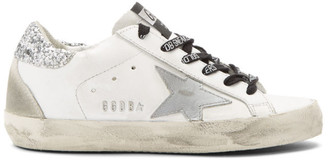Golden Goose White and Silver Glitter Tab Superstar Sneakers