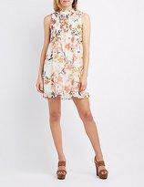 Charlotte Russe Floral Smocked Mock Neck Dress