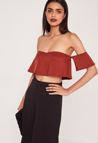 Missguided Frill Bardot Crop Top Red