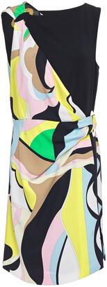Emilio Pucci Wrap-effect Draped Printed Crepe Dress