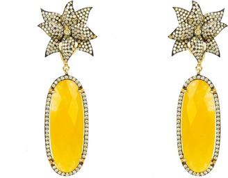 Latelita Lotus Flower Oval Yellow Chalcedony Earring Gold