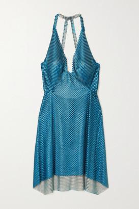 Fannie Schiavoni Tatum Open-back Draped Chainmail Mini Dress - Copper