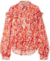 Preen by Thornton Bregazzi Miranda Ruffled Printed Devoré Silk-blend Chiffon Blouse - Tomato red