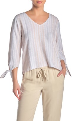Cloth & Stone V-Neck Tie Sleeve Stripe Print Linen Blend Top