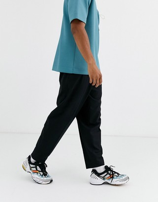 Asos volume tapered smart trousers in black wool mix
