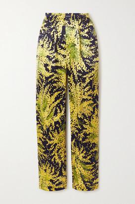 Balenciaga Floral-print Silk-jacquard Wide-leg Pants - Yellow