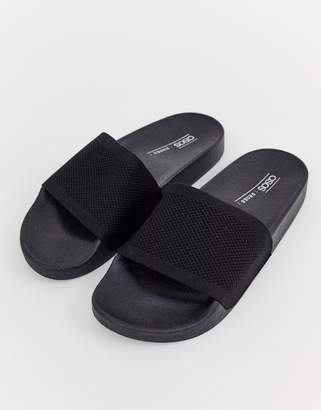 Pool' Asos Design ASOS DESIGN Flipside knitted pool sliders in black