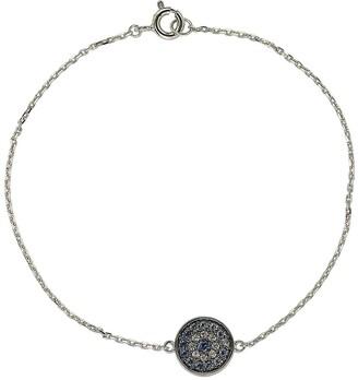 Suzy Levian Sterling Silver Sapphire & Created Sapphire Pave Disc Bracelet