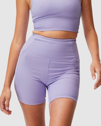 Cotton On Body Active - Women's Purple Tights - Rib Pocket Bike Shorts - Size M at The Iconic
