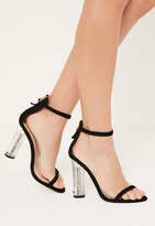 Missguided Black Glitter Block Barely There Heels