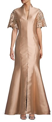 Badgley Mischka Embroidered Lace-Sleeve Mermaid Gown