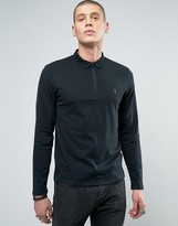AllSaints Long Sleeve Polo Shirt with Branding