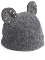 Helene Berman Women's Studded Ears Wool Blend Cap - Grey
