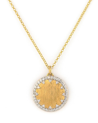 Jude Frances Provence Small Pave Disc Necklace