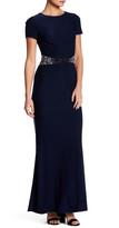 JS Boutique Short Sleeve Embellished Waist Gown