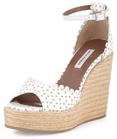 Tabitha Simmons Harp Eyelet Leather Espadrille Wedge Sandal, White