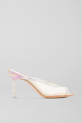 Sophia Webster Simona Crystal-embellished Glittered Mesh And Metallic Leather Mules