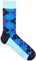 Happy Socks Blue Argyle Cotton Blend Socks