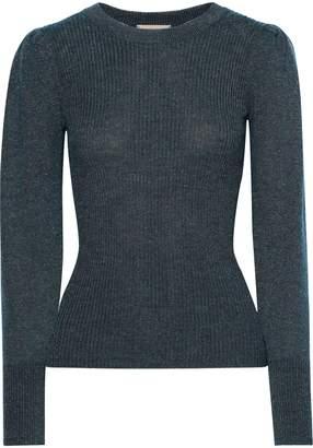 Rebecca Taylor Metallic Ribbed-knit Sweater